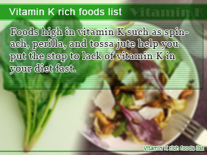 Vitamin K rich foods list
