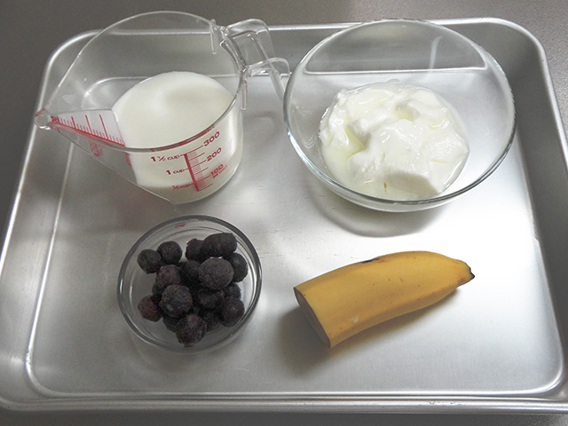 ingredients for blueberry banana yogurt smoothie