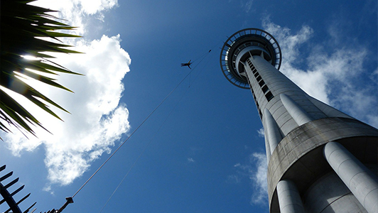 A persong bungee jumping from a tower