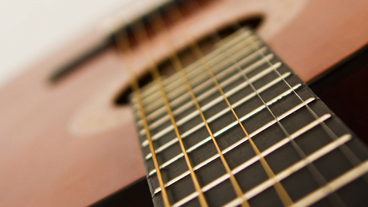 close-up of an acoustic guitar