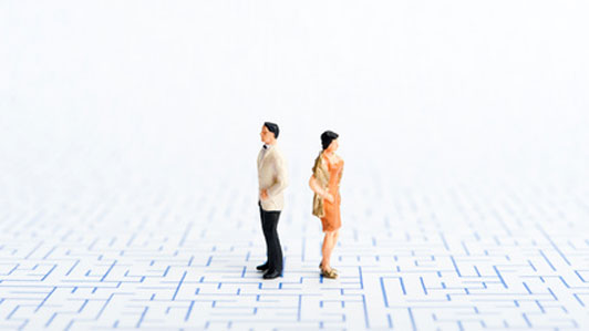 couple figures in maze