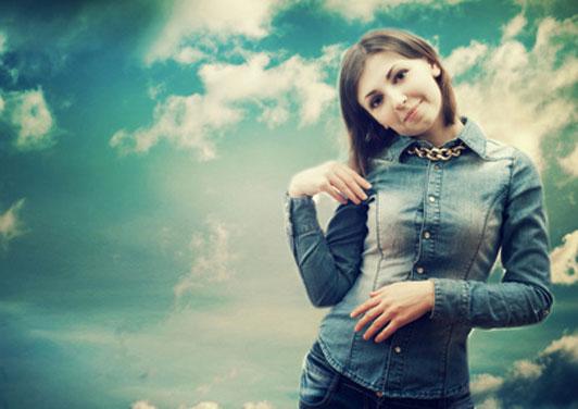 young woman wearing denim on denim