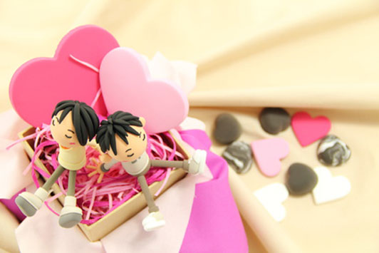 couple in candy box