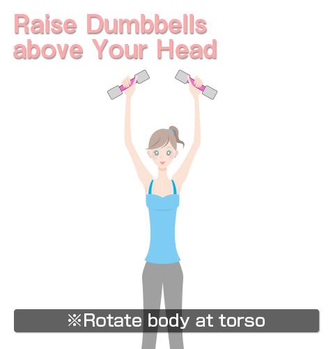 raise dumbbells above your head