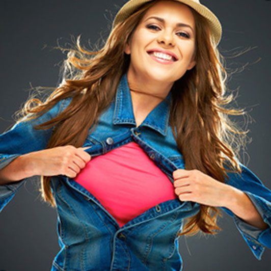 superwoman pose girl