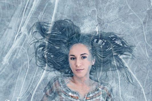 woman frozen in ice