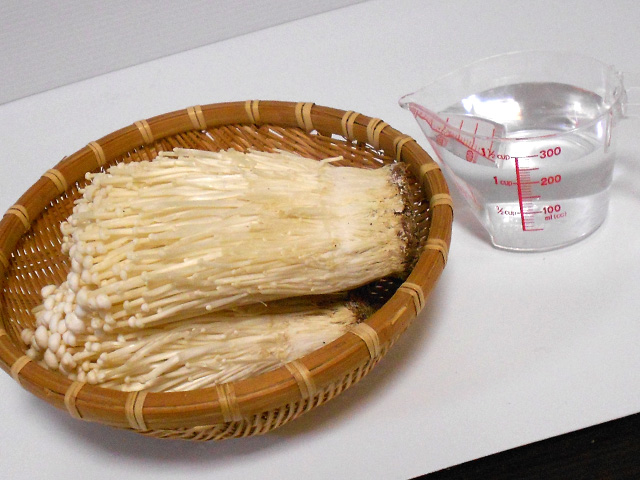 enoki and water