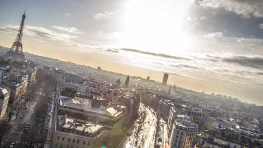 Sun shining over Paris