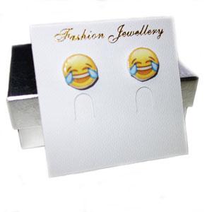 Emoji earrings of laughing smilies: slism.com/girlstalk/friendship-gifts.html