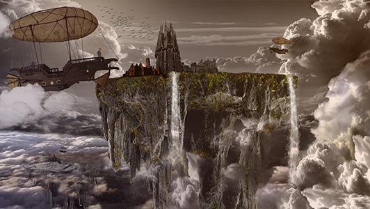 Fantasy floating city and clouds surrounding it.