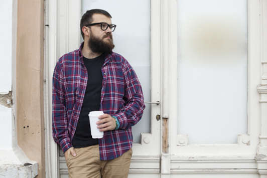 guy alone with cup of coffee