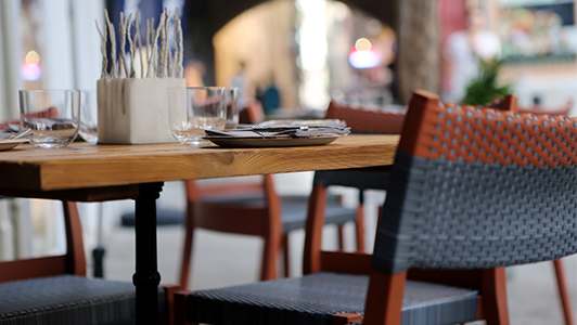 Table in a cafe