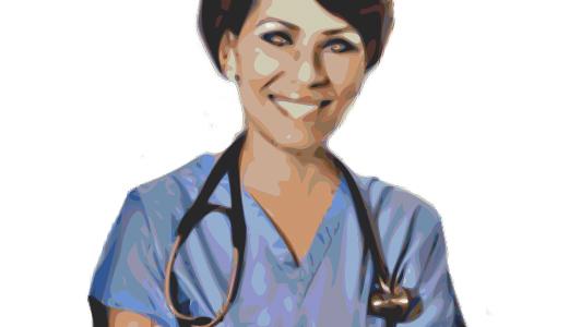 A nurse with a stetoscope.