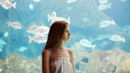 woman standing in front of aquarium alone