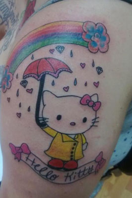 Hello Kitty with rainbow and umbrella