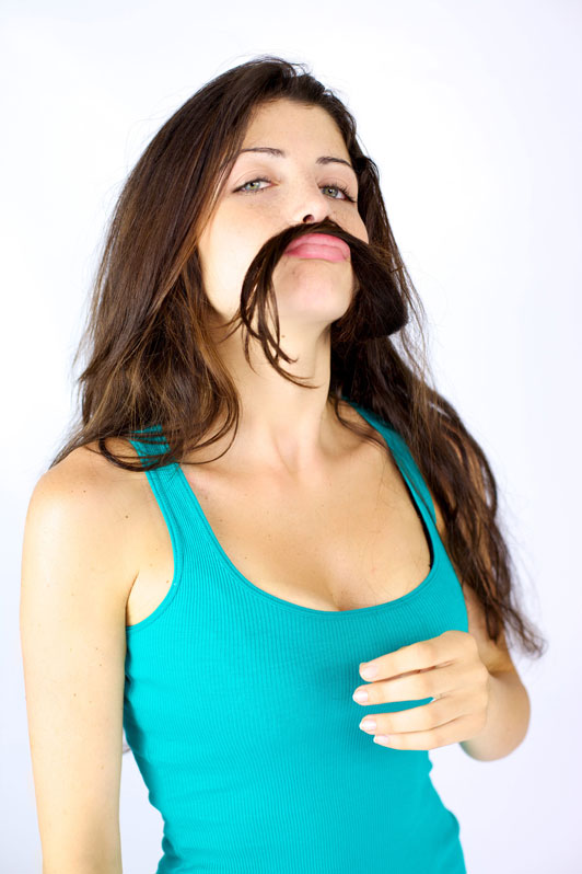 girl with mustache hair