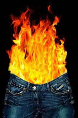Jeans with flames coming out of  it
