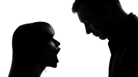 black and white couple yelling