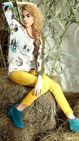 Long sleeves top with animal prints