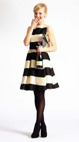 Dress with stripes and pleats