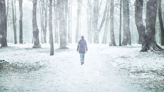 woman walking through woods alone on snowy day
