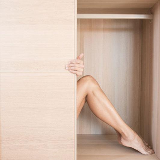 legs in closet
