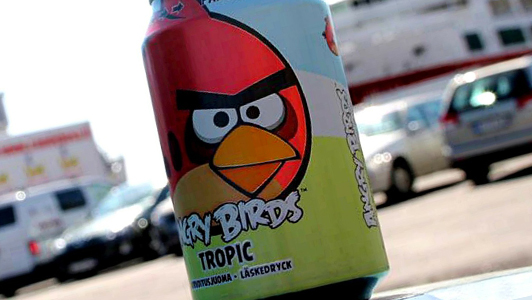 A can with a red Angry Bird.