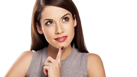 wondering woman with finger on chin