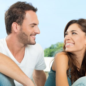 Couple laughing about something