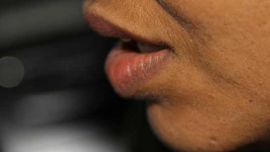 Close-up of guy's lips