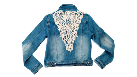 white lace on back of denim jacket