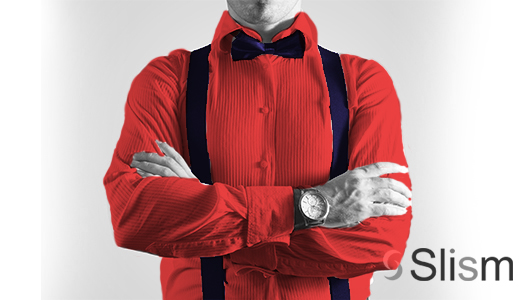 guy in a red shirt wearing a bow tie