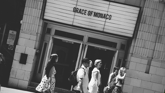 Black and gray photo of a cinema announcing Grace of Monaco.