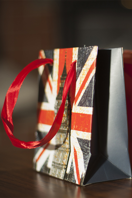 Two small bags with Union Jack print.