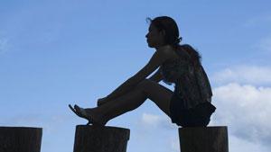 woman on pillars
