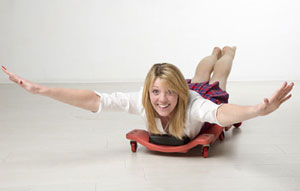 woman on rollers
