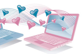 An illustration of a blue and a pink laptop connected with hearts
