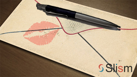 envelope with a lipstick mark