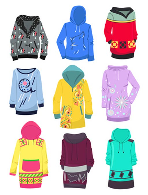 illustration showing hoodies