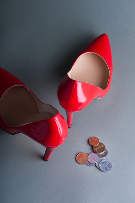 red high heels and coins