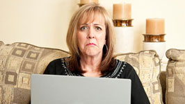 Woman being disappointed with online dating