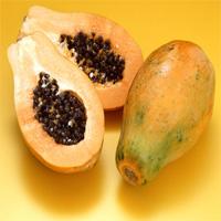 Papayas cut open