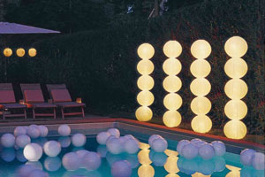 Pool decorated with paper lanterns