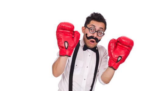 cowardice man in boxing gloves