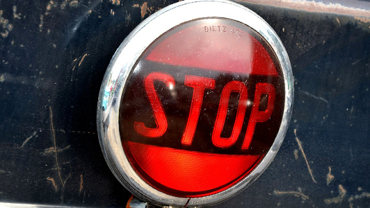 Red sign saying stop