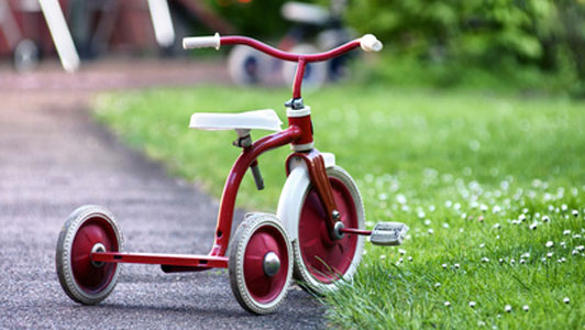 tricycle on lawn