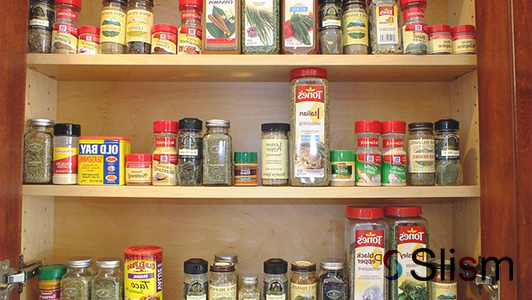 shelves with spices
