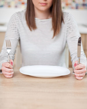 young woman and empty plate
