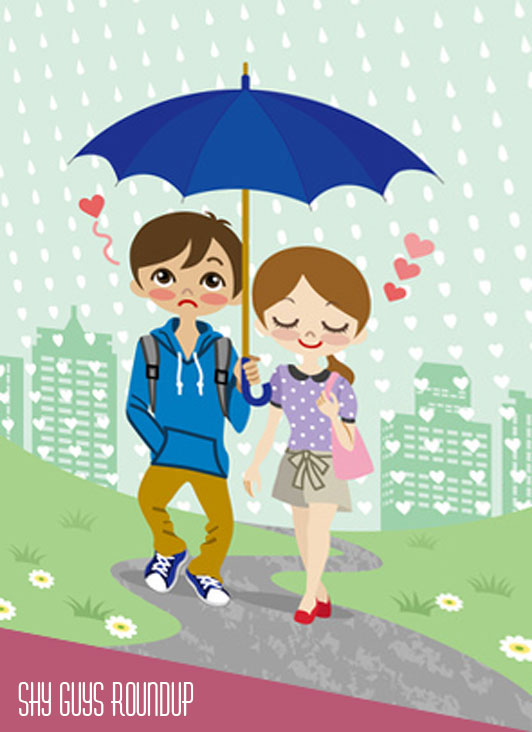 young couple walking in the rainy town
