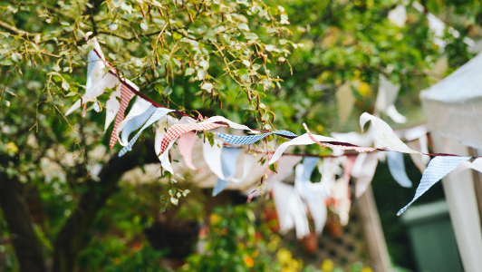 A celebration ornament hanging from a tree.